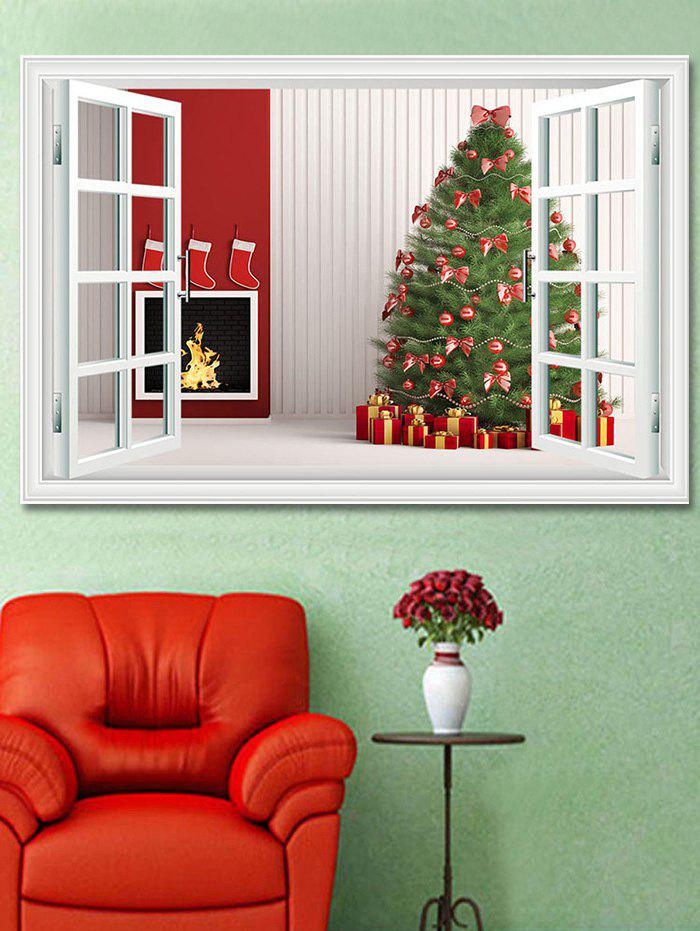 Fashion Christmas Tree Gifts Window Print Decorative Wall Art Sticker