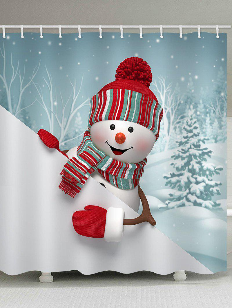 Outfits Christmas Snowman Trees Pattern Waterproof Bathroom Shower Curtain