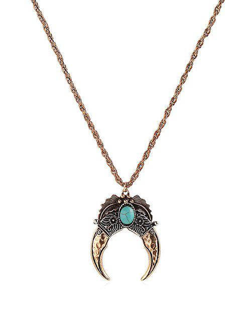 Sale Vintage Faux Turquoise Moon Necklace