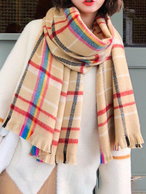 Store Srtiped Checkered Print Fringed Wrap Scarf