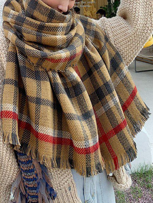 Affordable Fringed Plaid Print Long Wrap Scarf