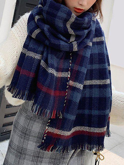Sale Fringed Plaid Print Long Wrap Scarf