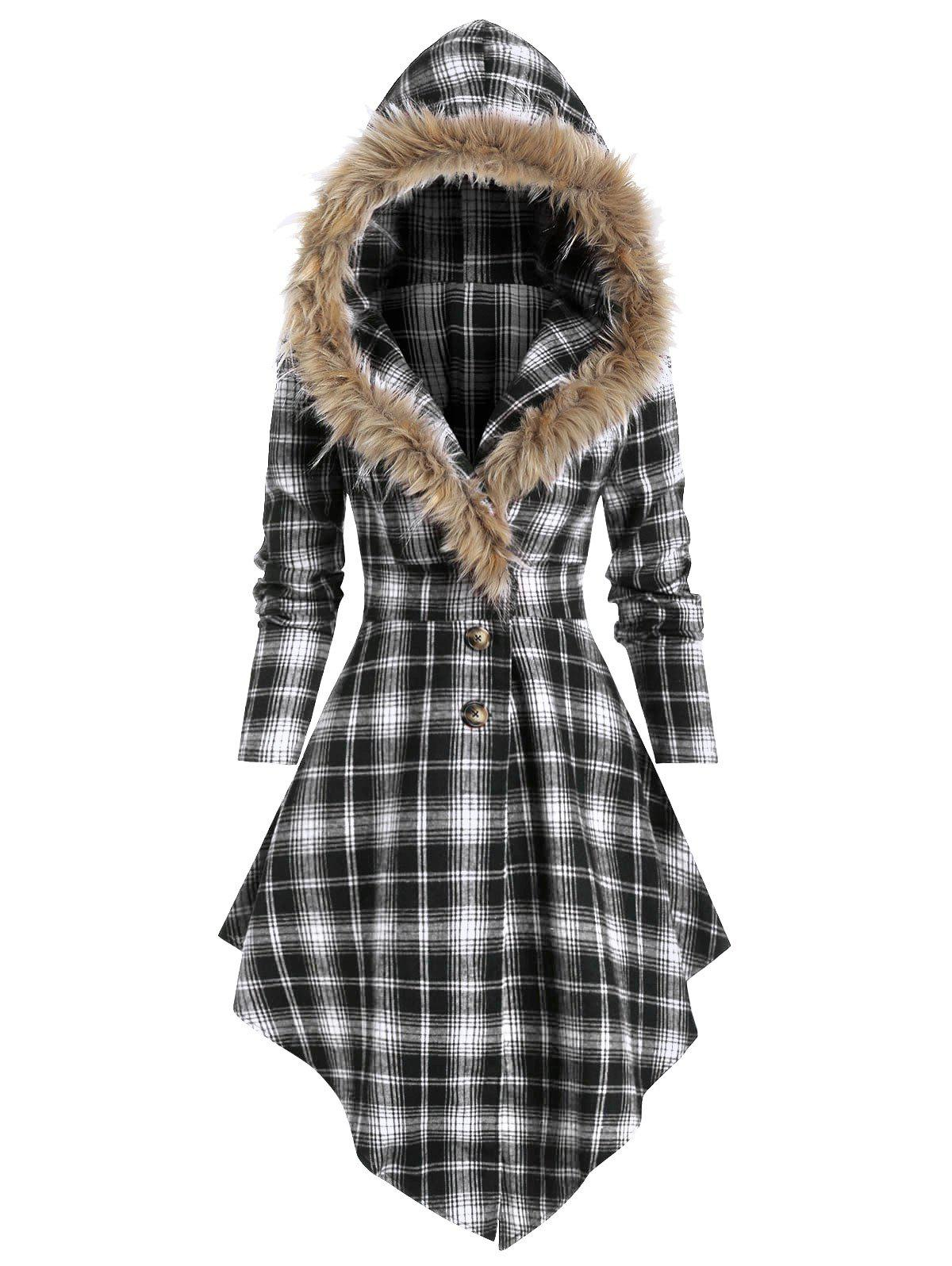 New Plaid Print Lace-up Skirted Coat with Faux Fur Hood