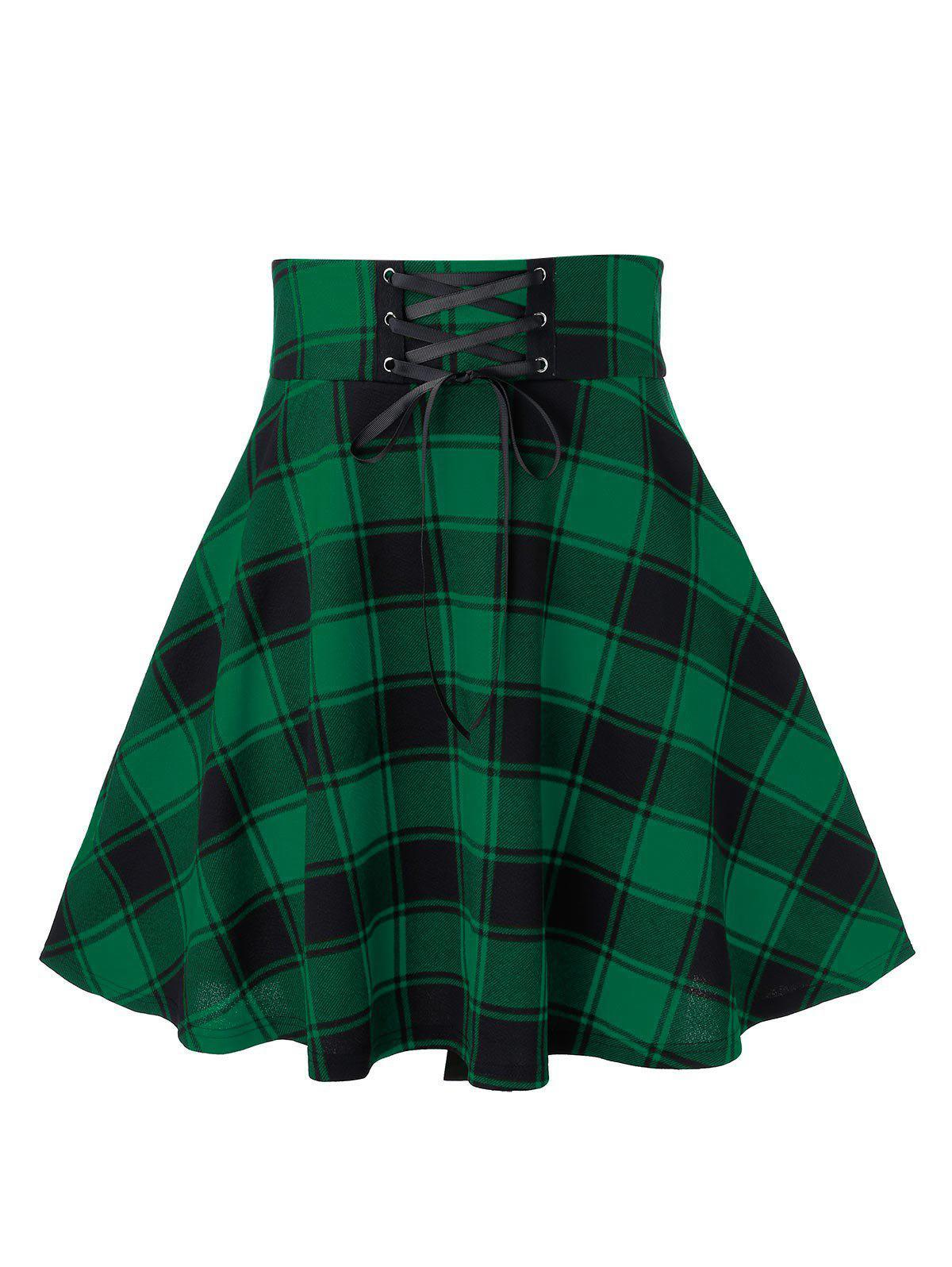 Store Plus Size Plaid Lace Up A Line Skirt