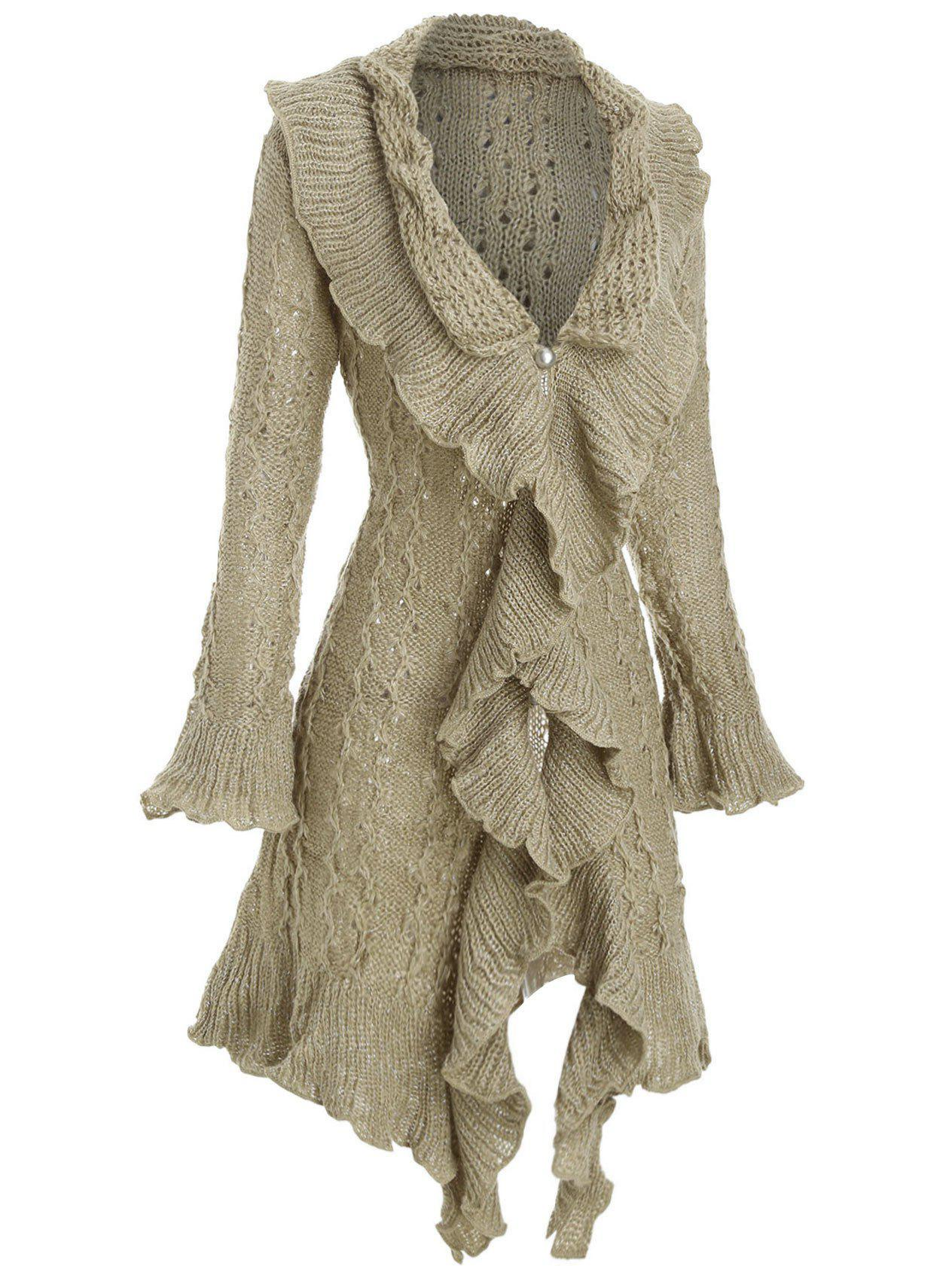 Chic Metallic Thread Flounce Ruffle Cuff Tunic Cardigan