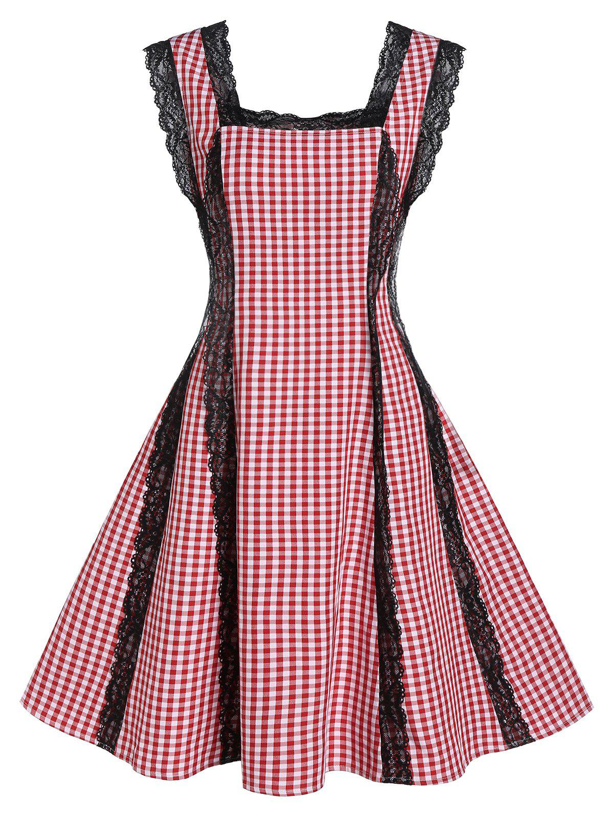 Shops Plaid Print Lace Panel Fit And Flare Dress