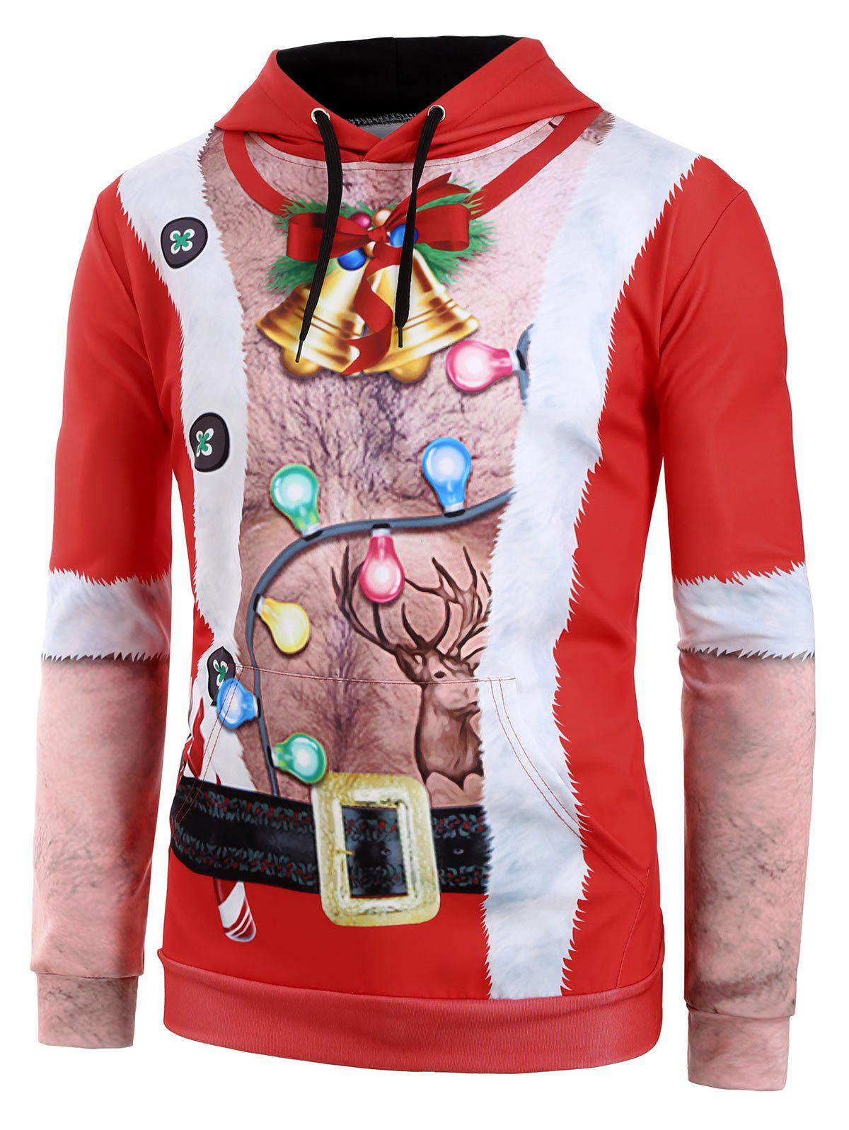Affordable Ugly Chest Hair Print Front Pocket Christmas Hoodie