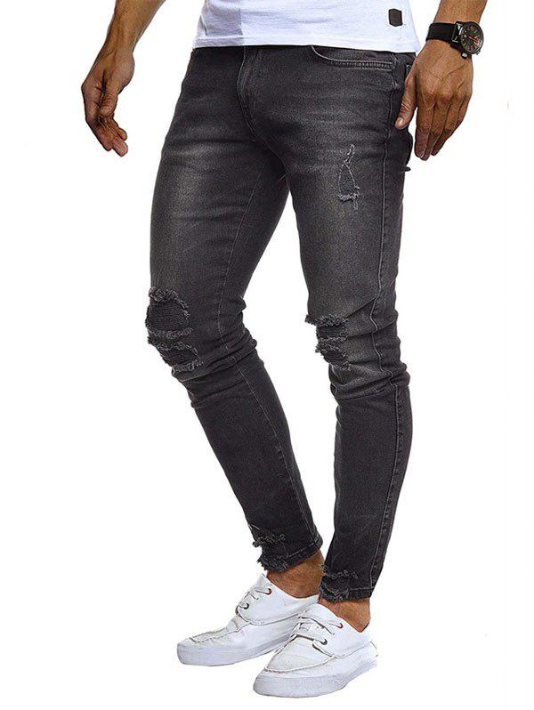 Discount Solid Color Ripped Zip Fly Jeans