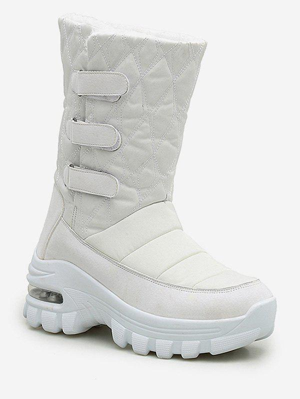 Cheap Quilted Hook Loop Mid Calf Snow Boots