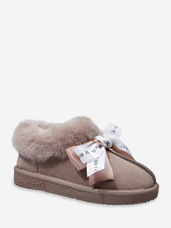 Fashion Ribbon Bowknot Fuzzy Trim Snow Boots