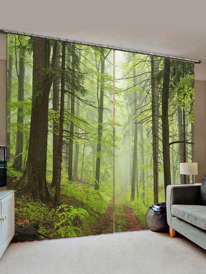 Discount 2 Panels Mist Forest Road Print Window Curtains