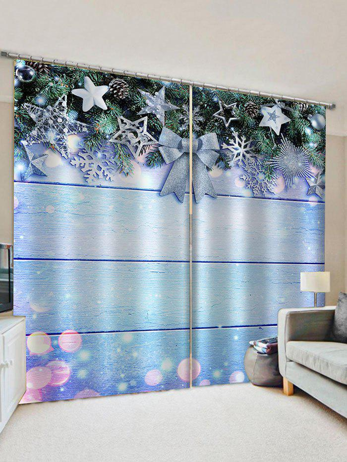 Sale 2 Panels Christmas Tree Decorations Print Window Curtains