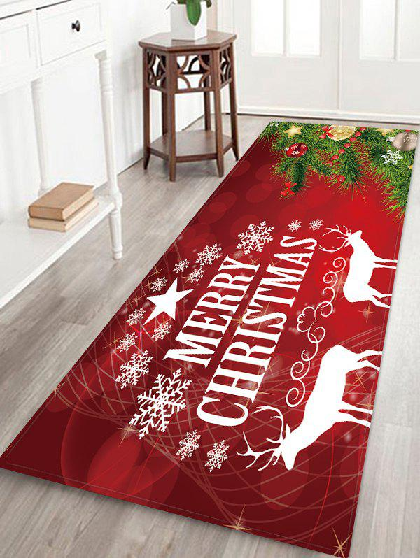 Unique Christmas Tree Deer Greeting Patterned Water Absorption Area Rug
