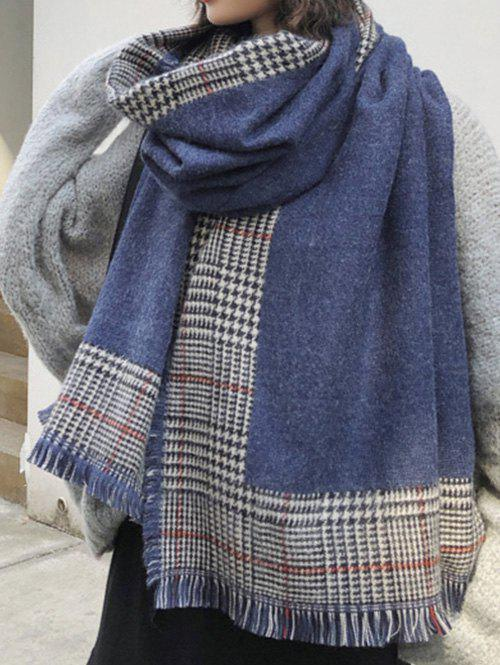 Buy Houndstooth Print Fringed Long Wrap Scarf