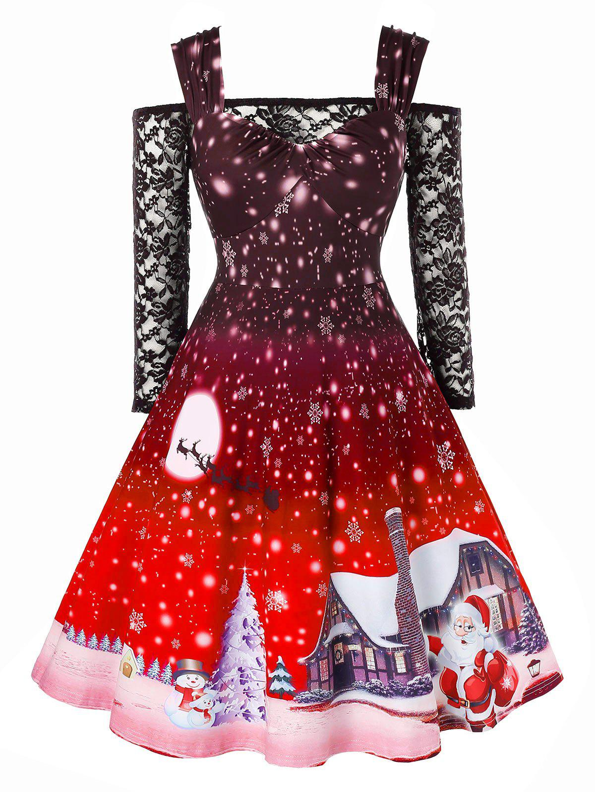 Trendy Plus Size Christmas Snowflake Print Vintage Dress with Off The Shoulder T Shirt