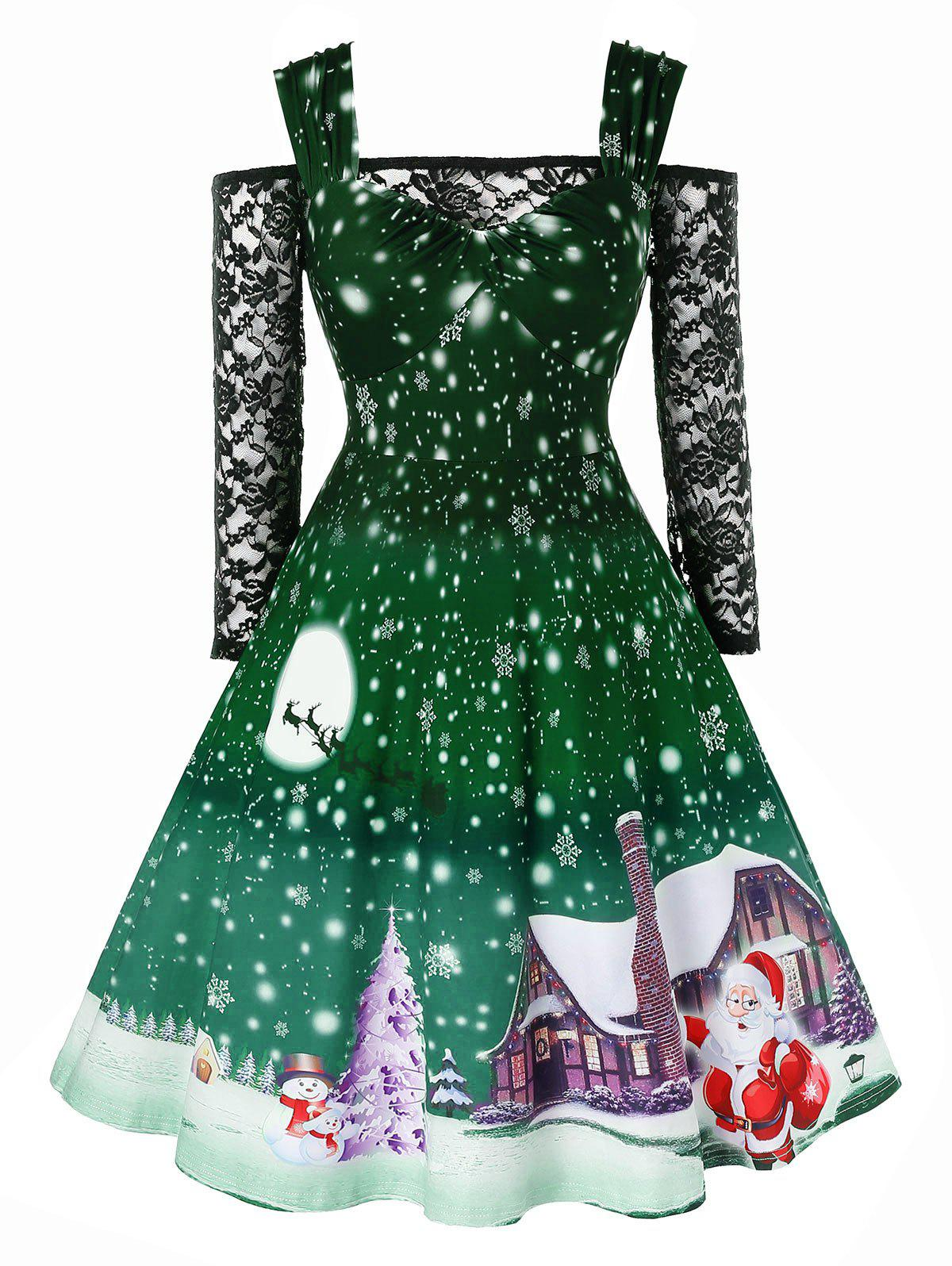 Outfits Plus Size Christmas Snowflake Print Vintage Dress with Off The Shoulder T Shirt