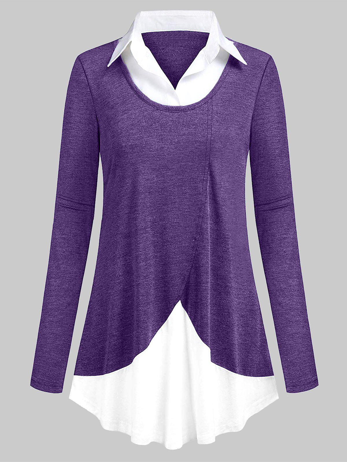 Chic Plus Size Two Tone Spliced T-shirt