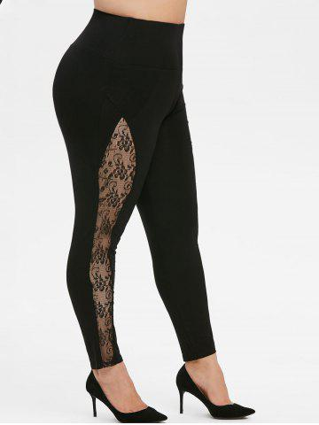 Pull On High Waisted Lace Panel Plus Size Leggings