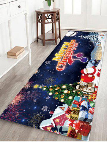 Merry Christmas Tree Santa Claus Floor Rug - MARBLE BLUE - W24 X L71 INCH