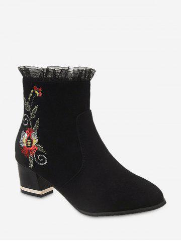 Ruffled Hem Floral Embroidery Chunky Heel Ankle Boots