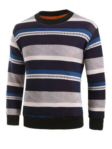 Striped Graphic Plush Pullover Sweater