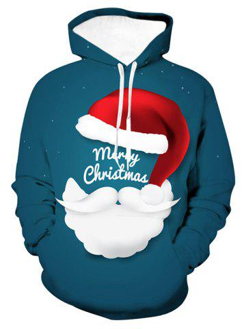 Merry Christmas Santa Graphic Front Pocket Drawstring Hoodie