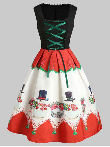 Christmas Lace Up Snowman Print A Line Dress