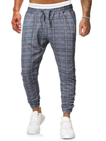 Casual Plaid Printed Drawstring Jogger Pants