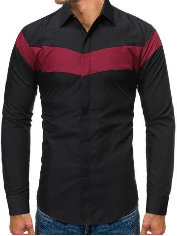 Color Blocking Long-sleeved Button Shirt