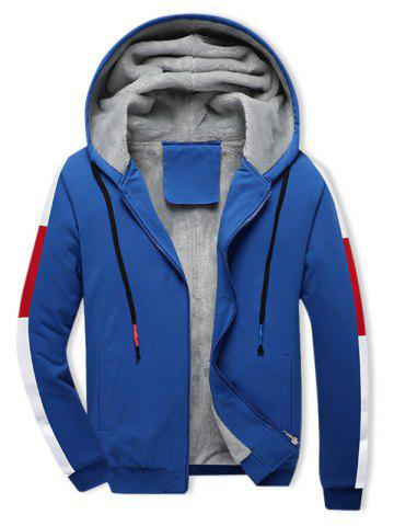 Colorblock Spliced Plush Hooded Jacket