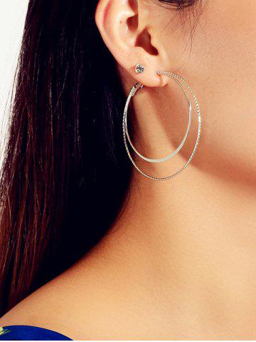 6Pairs Rhinestone Double Circle Earrings Set