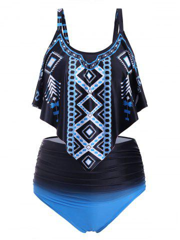 Overlay Flounces Printed Ombre High Waisted Plus Size Tankini Swimsuit - BLUE - 5X