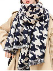 Houndstooth Graphic Fringed Long Wrap Scarf -