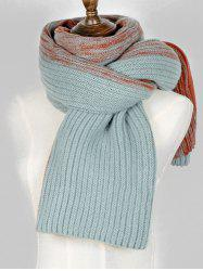 Contrast Long Knitted Wrap Scarf -