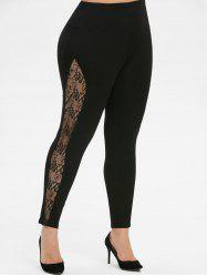 Pull On High Waisted Lace Panel Plus Size Leggings -