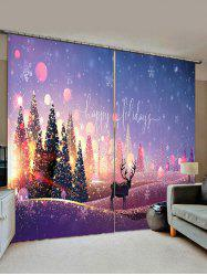 Christmas Tree Deer Pattern Window Curtains -