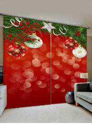 2 Panels Christmas Tree Branch Balls Print Window Curtains -