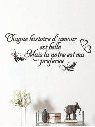 Quotes and Hearts Print Removable Wall Art Stickers -