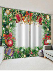 Christmas Bell Gift Pattern Window Curtains -