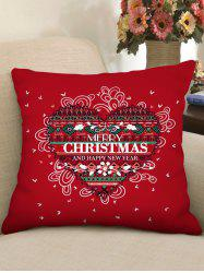 Merry Christmas Heart Pattern Pillow Cover -