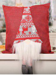 Christmas Snowflake Print Faux Fur Panel Doll Decorative Pillowcase -