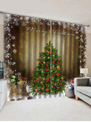 2 Panels Christmas Tree Snowflake Wood Grain Print Window Curtains -