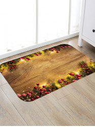 Wooden Board Berry Pattern Floor Rug -