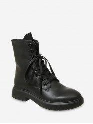 Plain Lace Up PU Leather Fleece Boots -