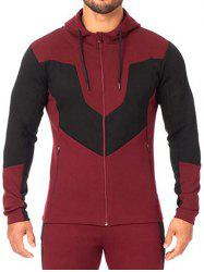 Color Blocking Zip Up Hooded Sweatshirt -