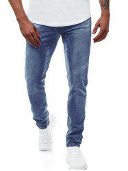 Solide Couleur Zipper Fly Jeans Casual - Bleu L