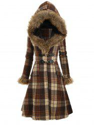 Plaid Hooded Longline Coat -