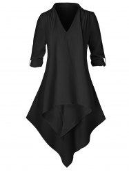 Plus Size Tunic Asymmetric Lace Insert Shirt -
