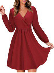 Long Sleeve V Neck Surplice Dress -