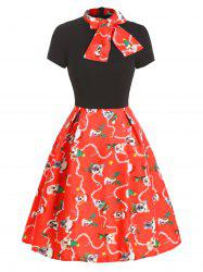 Christmas Bow Tie Funny Dog Print A Line Dress -